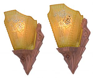 Lovely Pair of Americana Slip Shade, Dark Red Bronze Finished Sconces (ANT-1199)