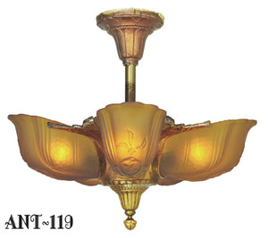 Antique-Original-PolyChrome-Finished-Cast-Iron-Slip-Shade-Art-Deco-Chandelier-(ANT-119)