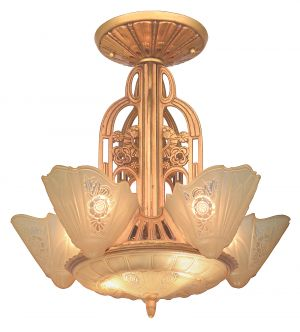 American Art Deco 5-Light, 6-Shade, Chandelier by Lightolier (ANT-1203)
