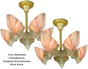 Matched Pair (Nearly Perfect) Art Deco 5-Shade Clam Shell Chandeliers by Mid-West (ANT-1204)