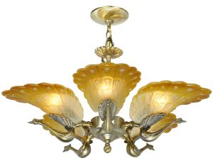 Striking Peacock 5-Arm Chandelier (ANT-1208)