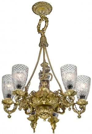 Antique French 6-Shade Circa 1850-1870 Gas Chandelier (ANT-1212)