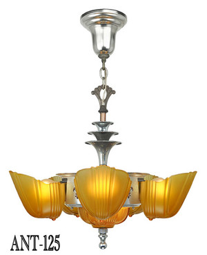 Original Antique Art Deco Slip Shade 6 Light Chandelier By Halcolite C1937 (ANT-125)