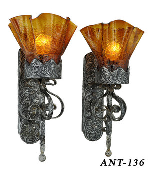 Antique Pair Of Wall Sconce Lights C1920 (ANT-136)
