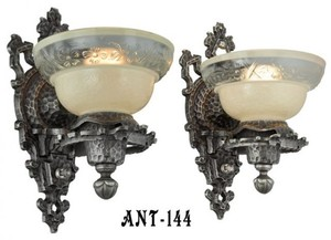 Antique-Pair-Of-Arts-and-Crafts-Early-Electric-Wall-Sconce-Lights-(ANT-144)