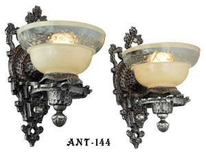 Antique Pair Of Arts & Crafts Early Electric Wall Sconce Lights (ANT-144)