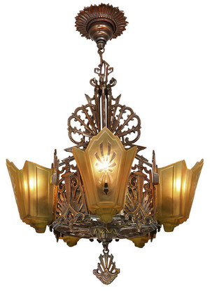 Antique Restore Bronzed Finish Art Deco Slip Shade Chandelier (ANT-152B)