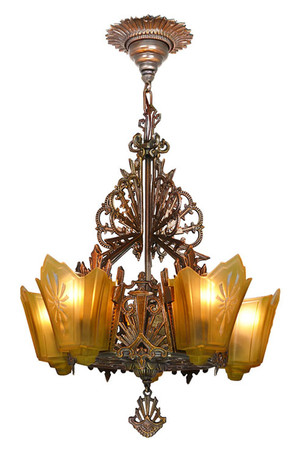 Antique-Restore-Bronzed-Finish-Art-Deco-Slip-Shade-Chandelier-(ANT-152B)