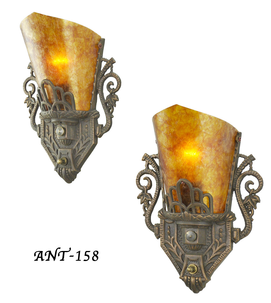 Vintage Hardware U0026 Lighting   Pair Of Antique Restored Art Deco Wall Sconces  (ANT 158)