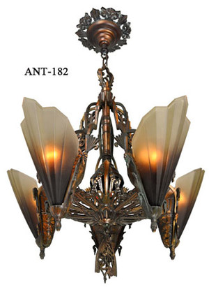 Antique-Art-Deco-Slip-Shade-Soleure-5-Light-Chandelier-(ANT-182B)