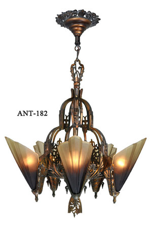 Antique Art Deco Slip Shade Soleure 5-Light Chandelier (ANT-182B)