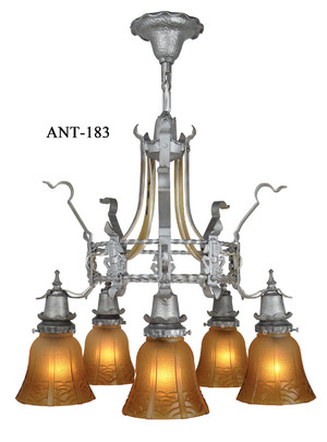 Arts and Crafts Style 5 Light Hammered Antique Chandelier Circa 1920 (ANT-183)