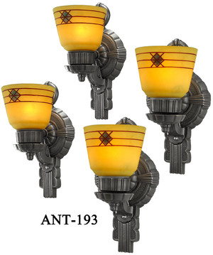 Set of Four Antique Art Deco Sconces C1930 (ANT-194)