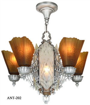Fantastic 1930s Art Deco 6 Light Chandelier (ANT-202)
