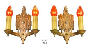Art Deco Wall Sconces Antique Bare Bulb Candle Style 1930s Lights (ANT-220)
