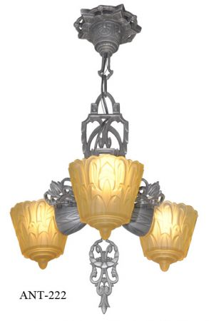 Antique Art Deco Lincoln 3 Light Pendant Chandelier (ANT-222)