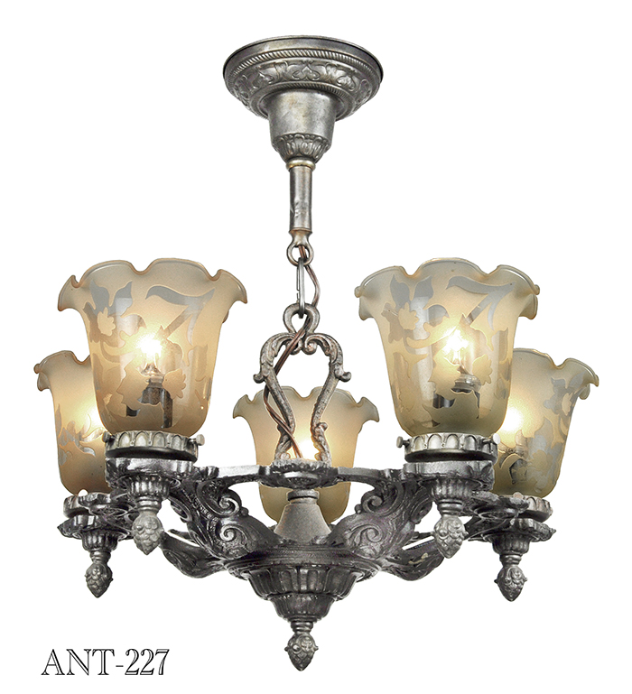 Old Ceiling Light Fixture Parts: Edwardian 1920s Chandelier 5 Arm Antique Ceiling Light