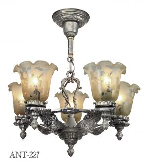 Edwardian 1920s Chandelier 5 Arm Antique Ceiling Light Fixture Pewter (ANT-227)