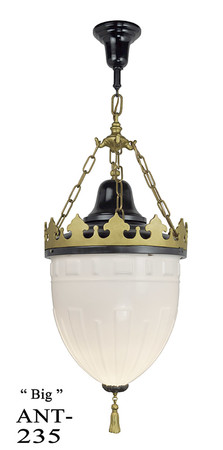 Large Antique Knights Helmet Pendant Black and Gold Ceiling Light (ANT-235)