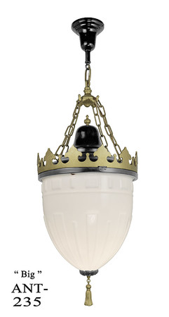 Large-Antique-Knights-Helmet-Pendant-Black-and-Gold-Ceiling-Light-(ANT-235)