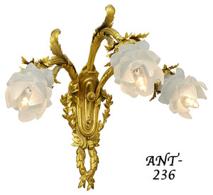 Pair-of-Antique-French-Triple-Sconces-(ANT-236)