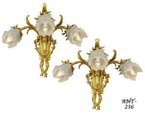 Pair of Antique French Triple Sconces (ANT-236)