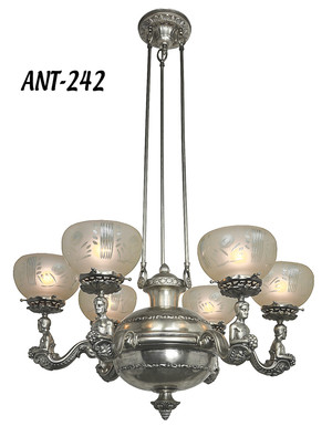 Restored Antique Silverized Chandelier c1900 (ANT-242)