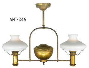 Antique-Restored-Electrified-Double-Oil-Lamp-(ANT-246)