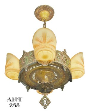 Williamson/Beardslee-4-Light-Art-Deco-Slip-Shade-Chandelier-(ANT-255)