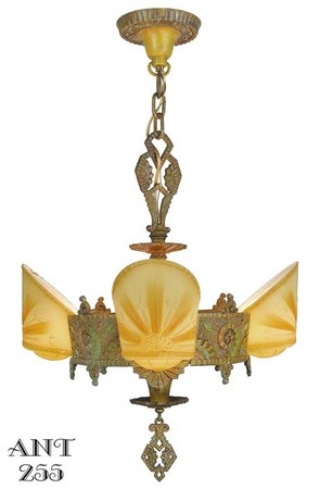 Williamson/Beardslee 4 Light Art Deco Slip Shade Chandelier (ANT-255)