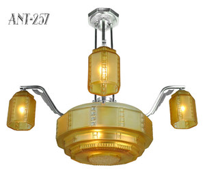 French Streamline Art Deco Chandelier c1930 (ANT-257)