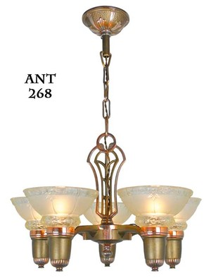Antique Art Deco Lincoln 5 Light Chandelier with Original Shades (ANT-268)