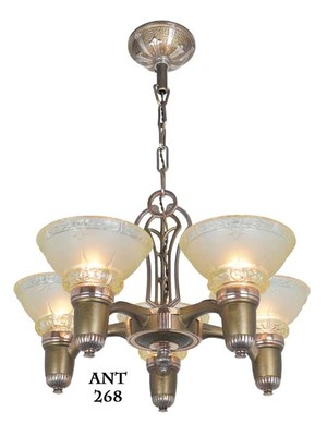 Antique-Art-Deco-Lincoln-5-Light-Chandelier-with-Original-Shades-(ANT-268)