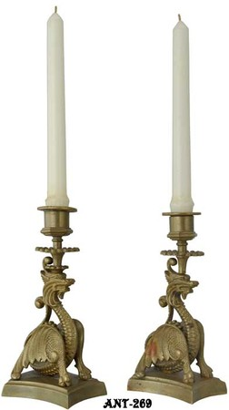 Vintage Pair of Unusual Dragon Candlesticks (ANT-269)
