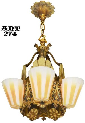 Fabulous Williamson Slip Shade Art Deco five slip shade Chandelier (ANT-274)