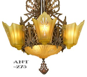 Antique-Restored-Red-Bronzed-Finished-Art-Deco-Slip-Shade-Chandelier-(ANT-275)