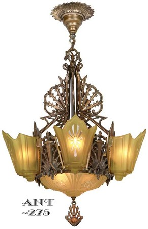 Antique Restored Red-Bronzed Finished Art Deco Slip Shade Chandelier (ANT-275)