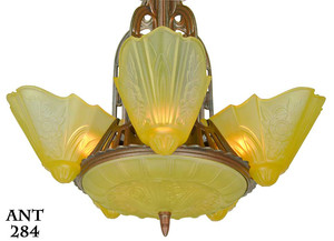 American-Art-Deco-7-light-6-shade-chandelier-by-Lightolier-(ANT-284)