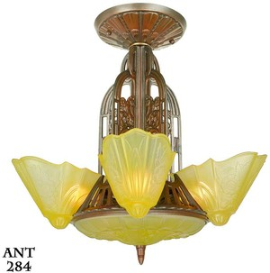 American Art Deco 7 light, 6 shade, chandelier by Lightolier (ANT-284)