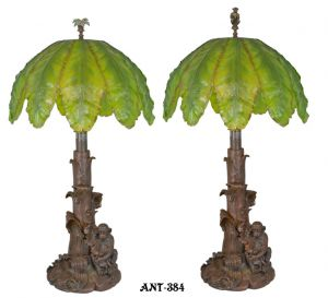 Pair of �Artful� monkey table lamps (ANT-384)