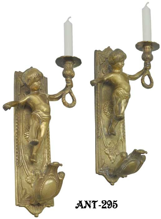 French Cherub Candle Wall Sconces Ant 295