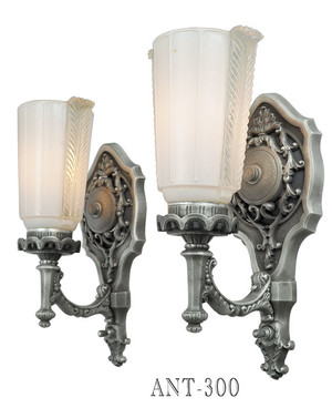 Antique 1920's Lovely Pair of Edwardian Wall Sconces (ANT-300)