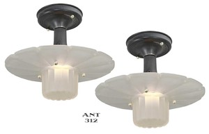 Art Deco Pair of Quaker Hat ceiling lights (ANT-312)