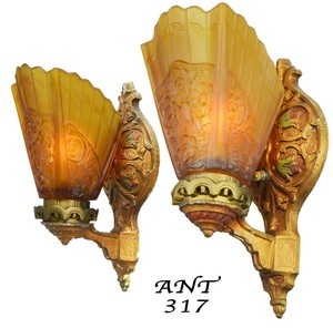 Art-Deco---Lovely-pair-of-1920-Art-Deco-Wall-Sconces-(ANT-317)