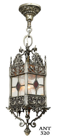 Victorian Antique Stained and Leaded Glass Hall Lantern Light Fixture (ANT-320)