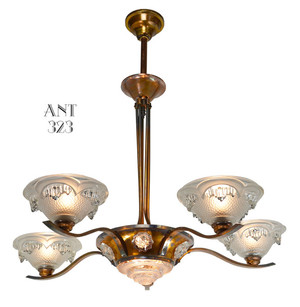 Art Deco Copper Finished French Ezan Chandelier (ANT-323)
