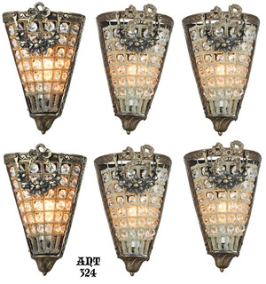 Set of SIX Crystal Wall Sconces (ANT-324)