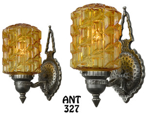 Art-Deco---Lovely-Pair-of-1920-Art-Deco-Wall-Sconces-(ANT-327)
