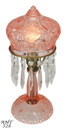 1920's + Press-Cut Glass Small Pink Tinted Bedroom Lamp (ANT-328)
