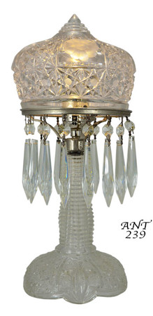 1920's + Press-Cut Small Clear Glass Bedroom Table Lamp (ANT-329)